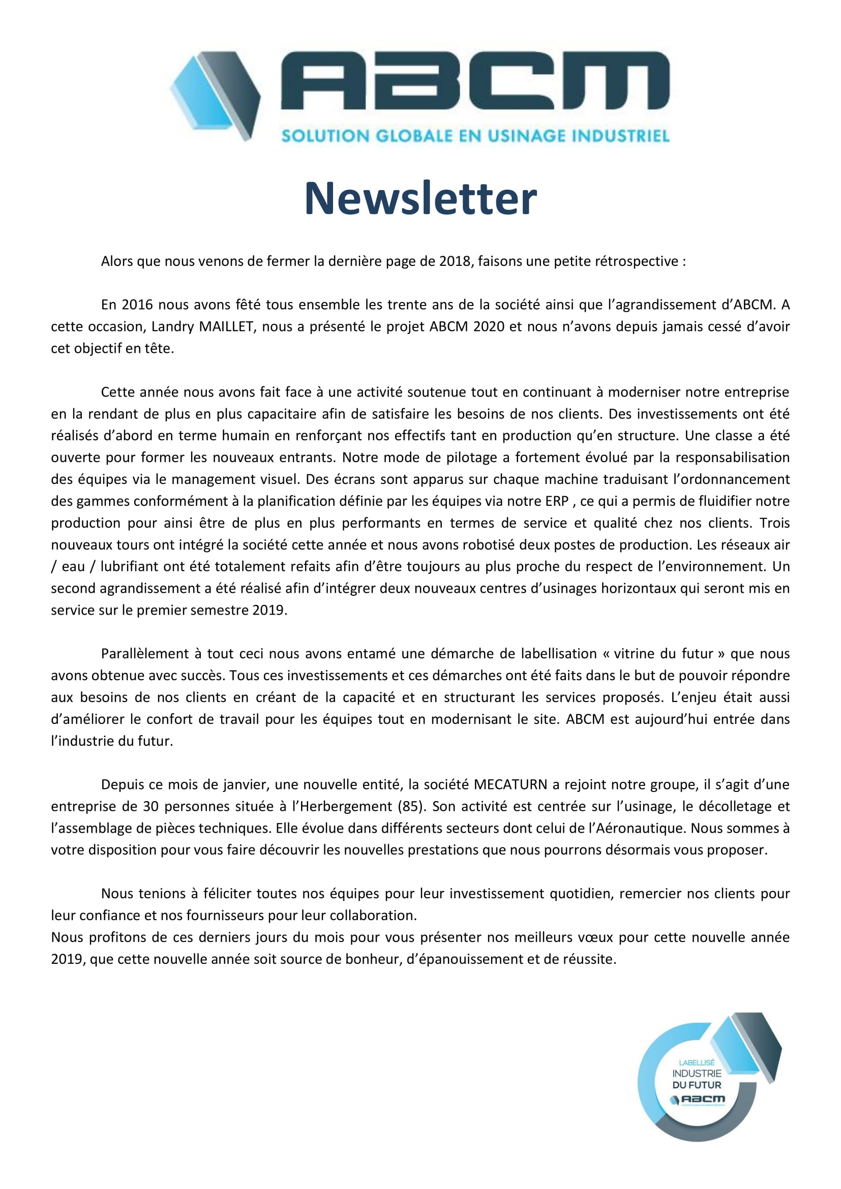 Newsletters ABCM année 2018-1